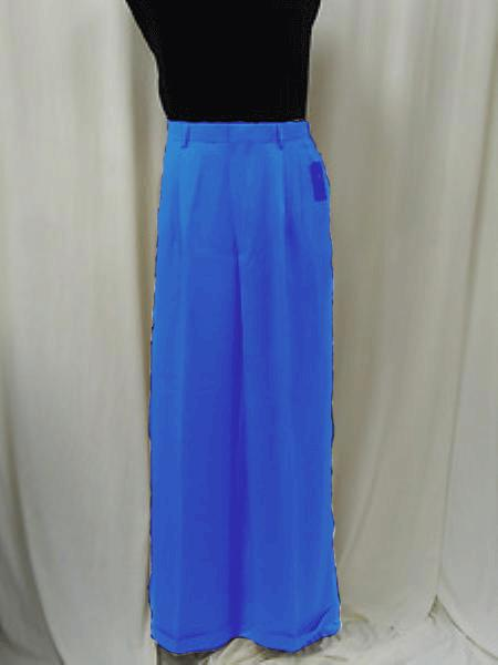 Men's Royal Blue Triple Pleat Dressy Wide Leg Pants