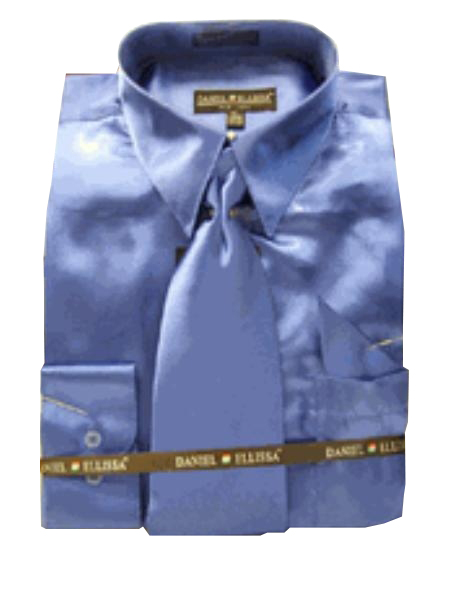 Fashion Cheap Priced Sale Mens New Royal Satin Dress Shirt Combinations Set Tie Combo Shirts