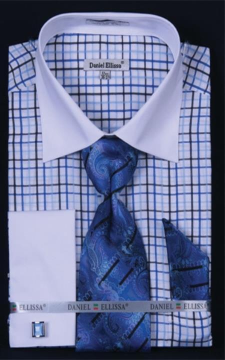 SKU#YP456 Mens French Cuff Dress Shirt Set White Collar Two Toned Contrast Small Checker Royal Plaid ~ Windowpane
