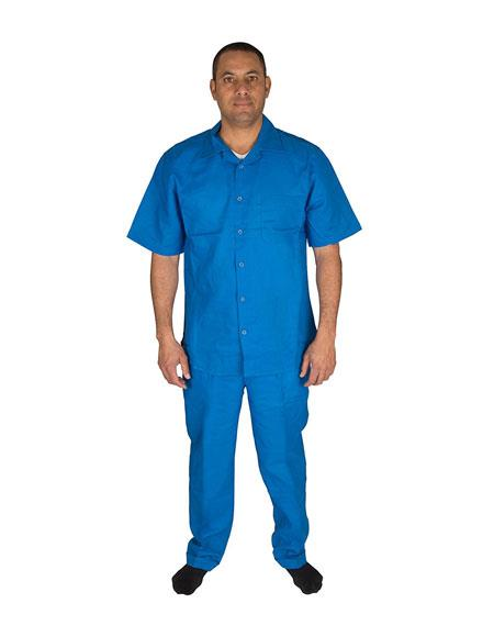 Mens Short Sleeve 2 Piece Casual Two Piece Walking Outfit For Sale Pant Sets Set With Long Pants 100% Linen Royal Shirt