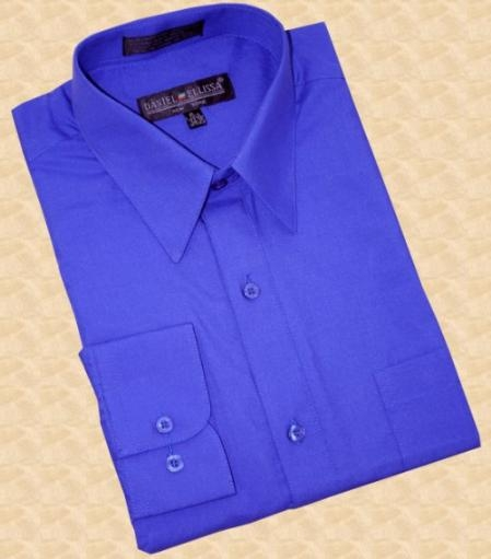 SKU#CA568 Royal Blue Cotton Blend Dress Shirt With Convertible Cuffs $39