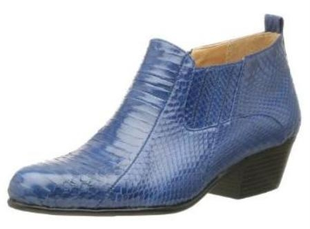 SKU#MU15064 Royal Blue Pointy toe demi-boot in genuine snake skin with side gore. Durable man-made $700