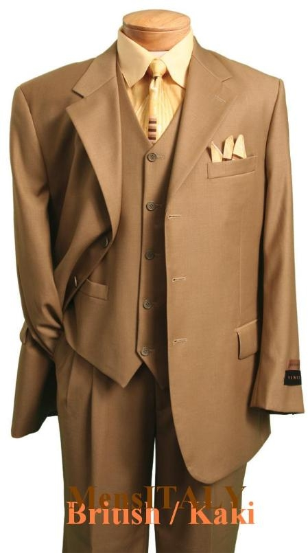 SKU#SKU112 MU3TR3 British/khaki Classic and sophisticated three piece mens dress three piece suit
