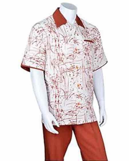 Buy SM1068 Men's Short Sleeve 2 Piece Set Casual Two Tone Art Design Rust Walking Suit
