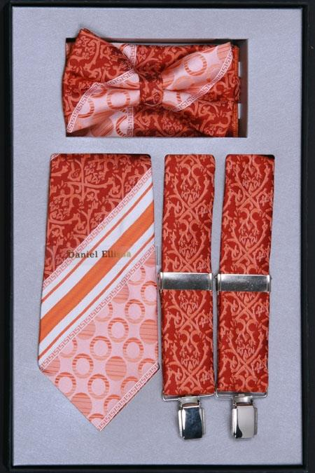 SKU#TS29 Mens Suspender, Tie, Bow Tie ~ Bowtie and Hanky Set Rust