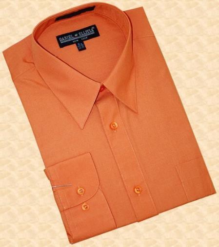 SKU#NS682 Rust Cotton Blend Dress Shirt With Convertible Cuffs