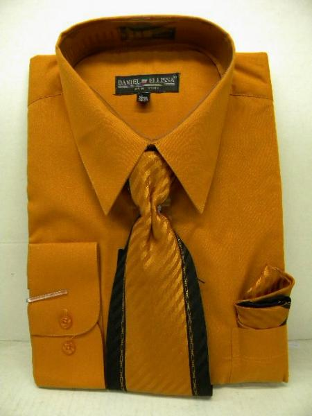 SKU#MA9111 Mens Rust Dress Shirt Tie Set