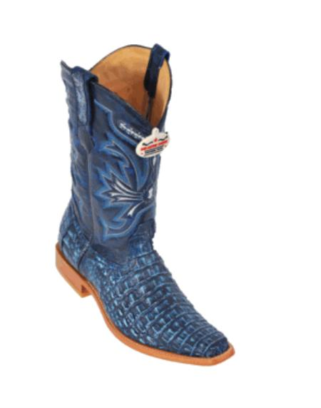 SKU#KF4288 Rustic Blue Smooth Cowboy Boots