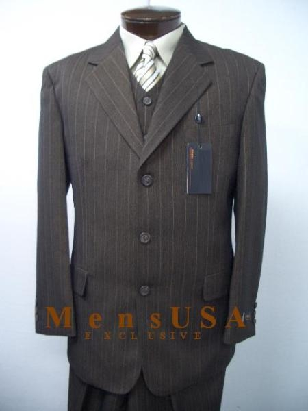 SKU# S08 Ticket Pocket Dark Taup (Tan Mix With Honey Brown) Vested 3 Pieces Mens Dress three piece suit Three Piece