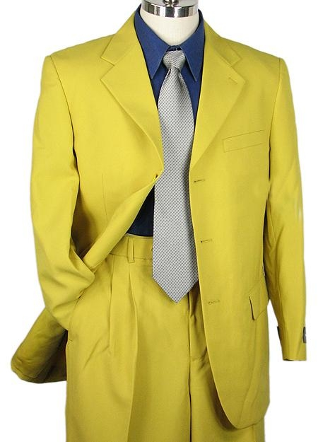 SKU#MU38593 SHARP LOOKING 2pc MEN 3B DRESS SUIT MUSTARD $125