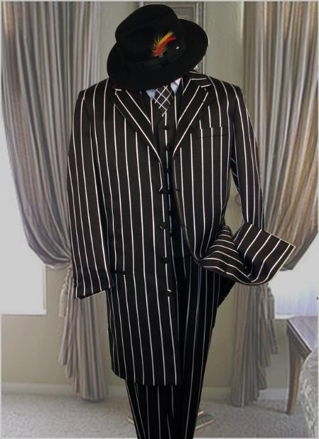 SKU#M282 SHIMMERY GANGSTER  Black And Bold Pronounce  White Stripe Fashion Longer Jacket Mens Suits $159
