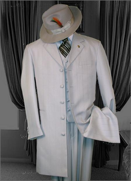 SKU#M1542 SILVER~Ash~Gray 3PC FASHION ZOOT SUIT WITH A VEST Cover Buttons $139