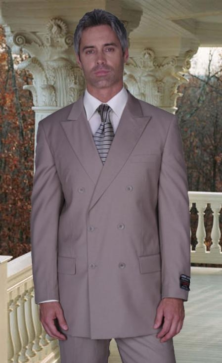 SKU# AMS455 JPR-27 CLASSIC DOUBLE BREASTED SOLID COLOR Tan ~ Beige MENS SUIT