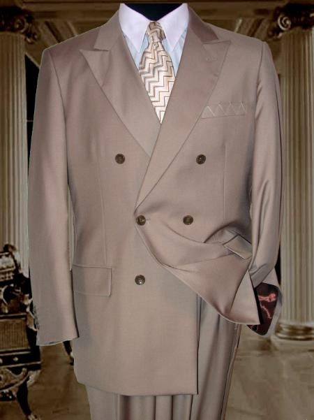 SKU# APS303 JPR-27 SOILD Tan ~ Beige DOUBLE BREASTED Clearance Sale wool-touch poly rayon SUIT HAND MADE $175