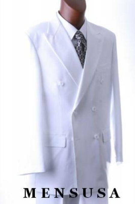 SKU#EmilC762  2pc MENS SHARP Double Breasted DRESS SUIT Snow Solid White
