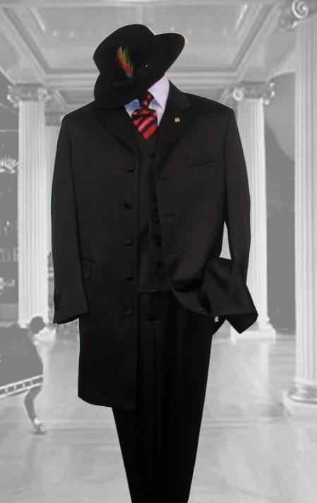 SKU# 4471 BLACK SUIT 3PC FASHION ZOOT WITH VEST Cover Buttons