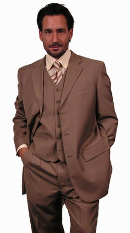SKU# VOX984 SUPER 110S EXTRA FINE premier quality italian fabric WOOL COLOR 3PC VETED SUIT. COLOR Gold / Tan ~ Beige $139