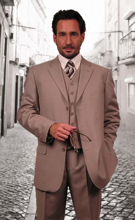 SKU#EWO302 Super 110s Extra Fine Premier Quality Italian Fabric Wool Feel Poly~Rayon 3PC Vested three piece suit