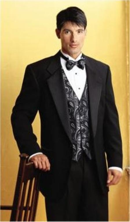 SKU#ER345 SUPER 150S 1 BUTTON MENS BLACK TUXEDO EXTRA FINE WITH FRENCH PIPING