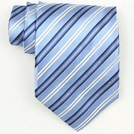 SKU# SW441A  Silk Lt.Blue/Navy/White/Metallic Silver Woven Necktie $39