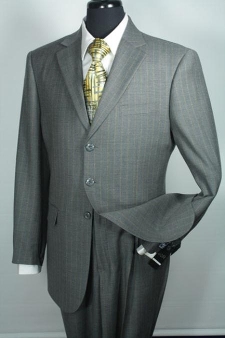 SKU#DV4381 Sacari 100% Wool Business Suit - Grey Stripe $139
