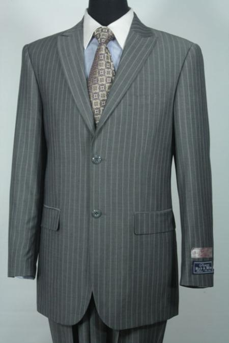 SKU#VG2930 Sacari 100% Wool Grey Stripe Business Suit $500