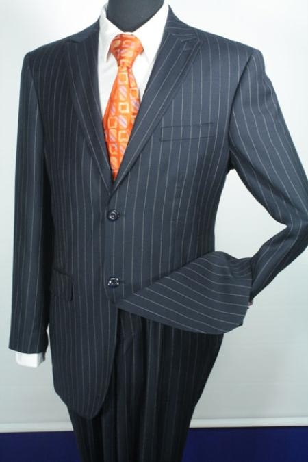 SKU#NS2487 Sacari 100% Wool Navy Stripe Business Suit  $139