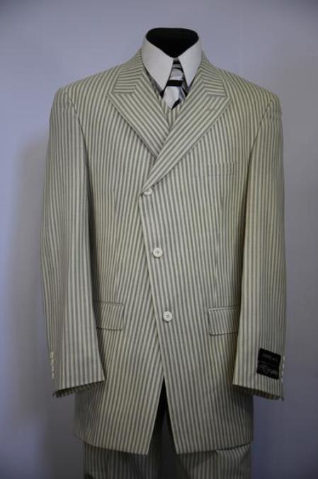 Mens Victorian Stripes Side Button Single Breasted Flap Pocket Sage Zoot Suit