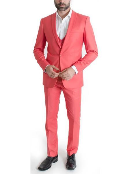 Mens 3 Piece Salmon ~ Peachish ~ Pinkish Narrow Peak Lapel Spring Vested Slim Fit Suit