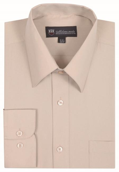 Sand Traditional Plain Solid Color Men's Dress Shirt