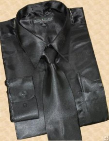 SKU#MS453 Satin Black Dress Shirt Tie Hanky Set $59