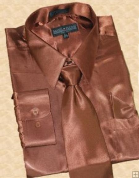 SKU#HU811 Satin Brown Dress Shirt Tie Hanky Set $59