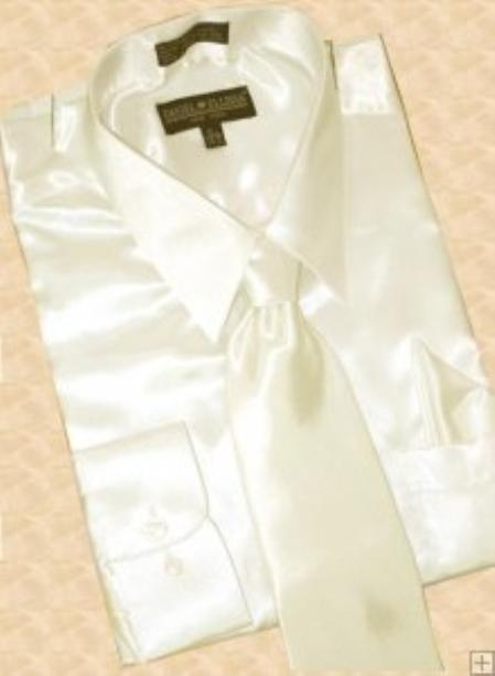 SKU#HS900 Satin Cream Ivory Dress Shirt Tie Hanky Set