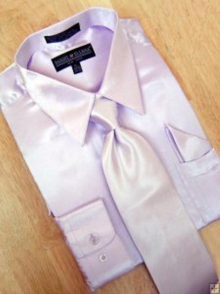 SKU#KV901 Satin Lavender Dress Shirt Tie Hanky Set