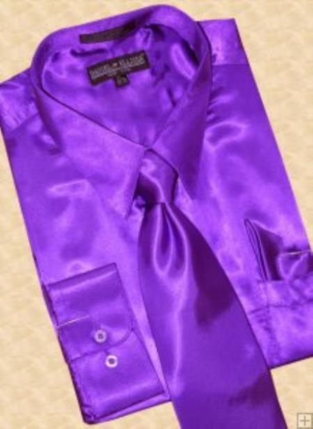 SKU#TH238 Satin Purple Dress Shirt Tie Hanky Set $59
