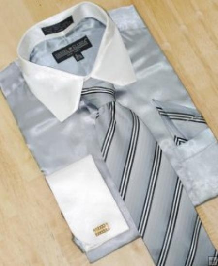 SKU#AS425 Satin Silver Grey/White Shirt Tie Hanky Set With French Cuffs $59
