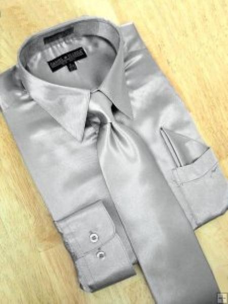 SKU#PW782 Satin Silver Grey Dress Shirt Tie Hanky Set $59