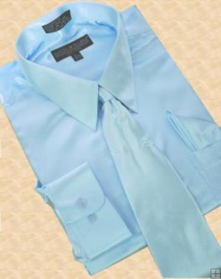SKU#AK348 Satin Sky Blue Dress Shirt Tie Hanky Set $59