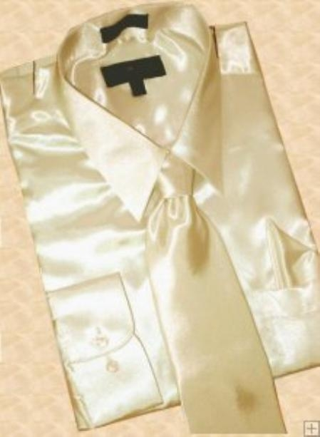 SKU#GN993 Satin Tan ~ Beige Dress Shirt Tie Hanky Set