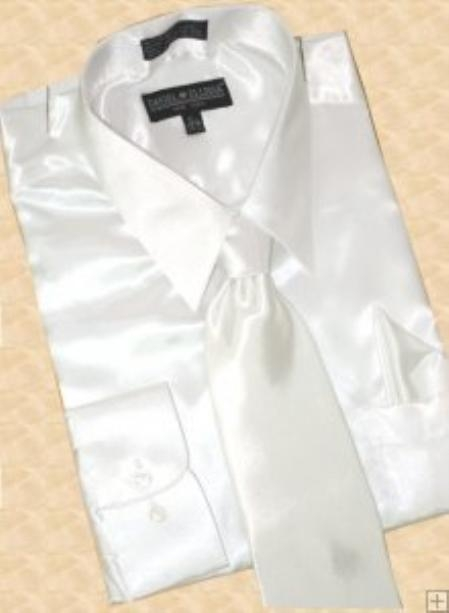 SKU#ST612 Satin White Dress Shirt Tie Hanky Set $59