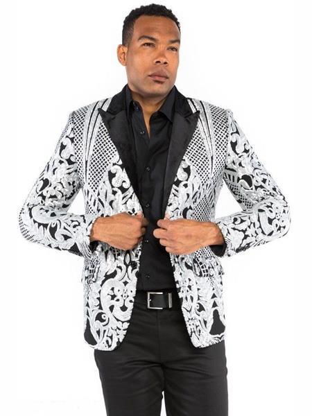 Mens 2 Button Scarf Sequin Designed Silver Blazer