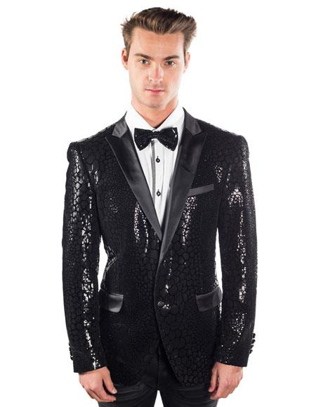 Sequin Blazer Mens Black 2 Buttons Sequined Reptilian Print Blazer Matching Bow Tie
