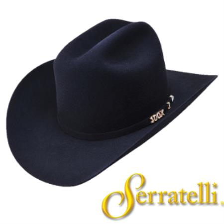 Tejana Serratelli Hat Company-100x Beaver Fur Felt Western Cowboy Hat – Black