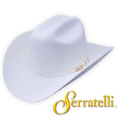 Tejana Serratelli Hat Company-100x Beaver Fur Felt Western Cowboy Hat – White