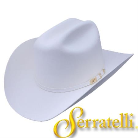Western Leather Sweatband Tejana Serratelli Hat ~ 10x Beaver Fur Felt Cowboy White Hat