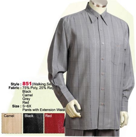 MensUSA.com 2PC Set Casual Suit in Black or Camel or Grey or Red including Matching Wide Leg Dress Pants(Exchange only policy) at Sears.com