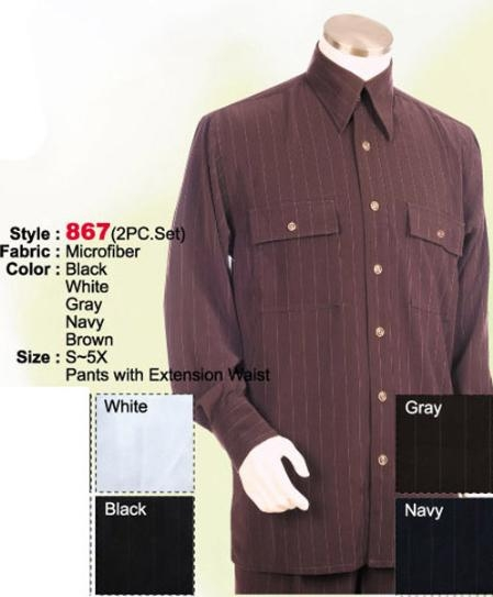 SKU#KD734 2PC Set Casual Suit in Brown or Black or Grey or Navy or White including Matching Wide Leg Dress Pants