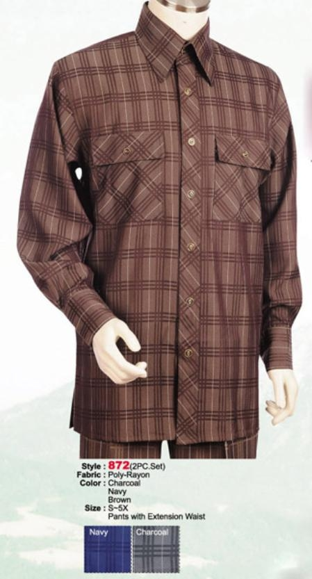 SKU#BZ745 2PC Set Casual Suit in Brown or Charcoal or Navy $89