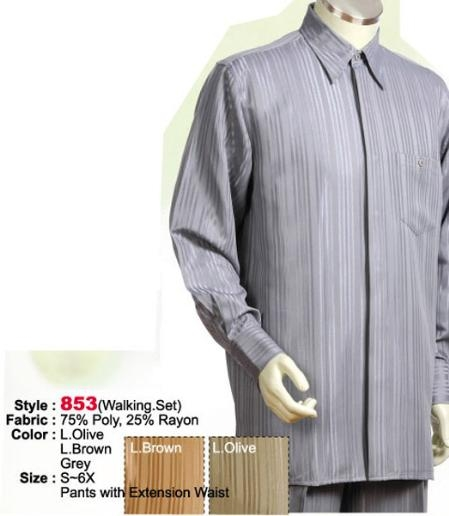 SKU#YA212 2PC Set Casual Suit in Grey or Light Brown or Light Olive including Matching Wide Leg Dress Pants $125