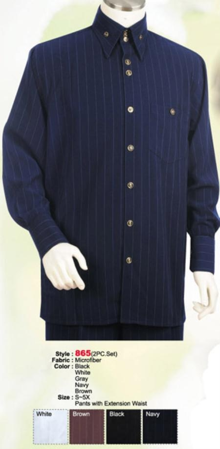 SKU#ID521 2PC Set Casual Suit in Navy or Black or White or Brown or Grey $89